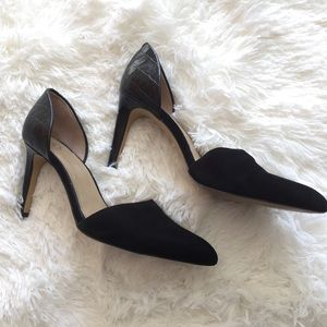 Black leather chic and suede d'orsay heels 7